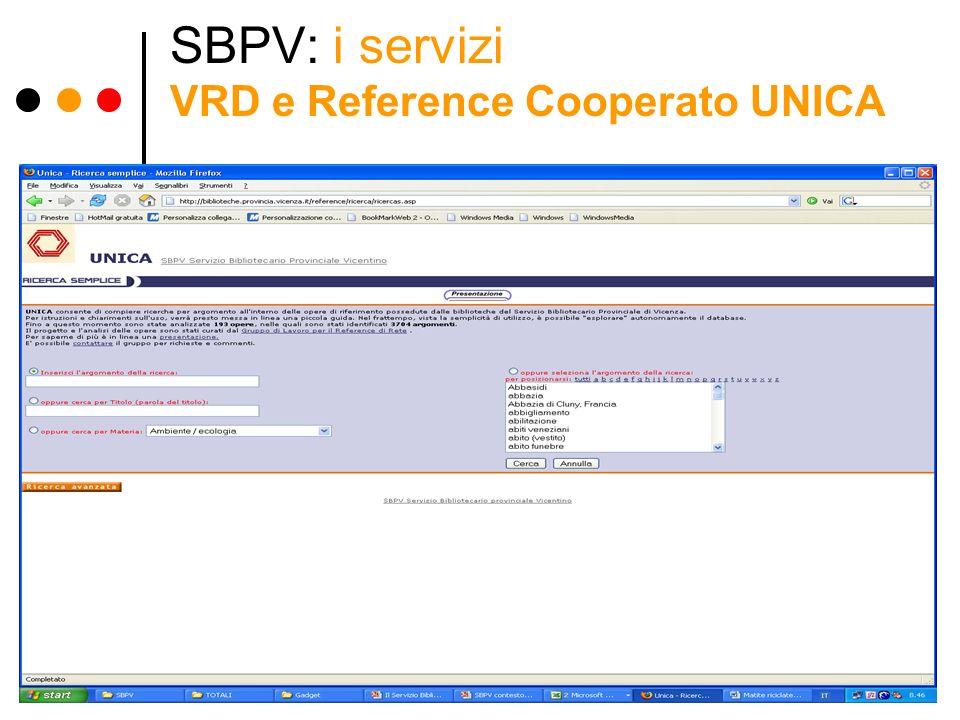 SBPV: i servizi VRD e Reference Cooperato UNICA