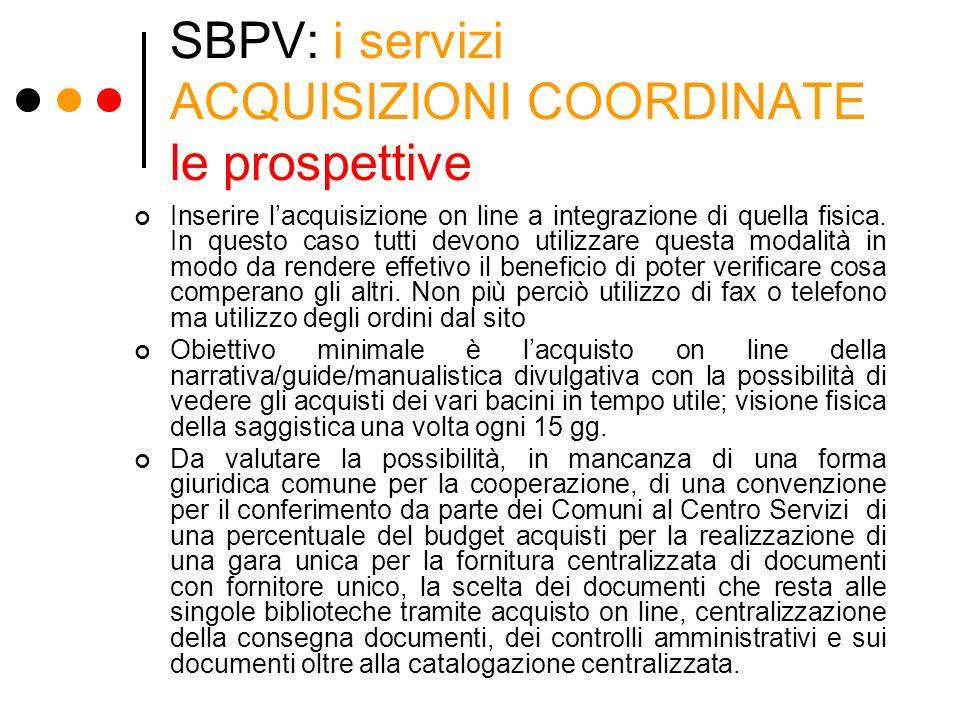 SBPV: i servizi ACQUISIZIONI COORDINATE le prospettive