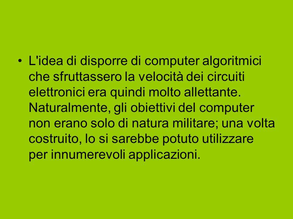 L idea di disporre di computer algoritmici che sfruttassero la velocità dei circuiti elettronici era quindi molto allettante.
