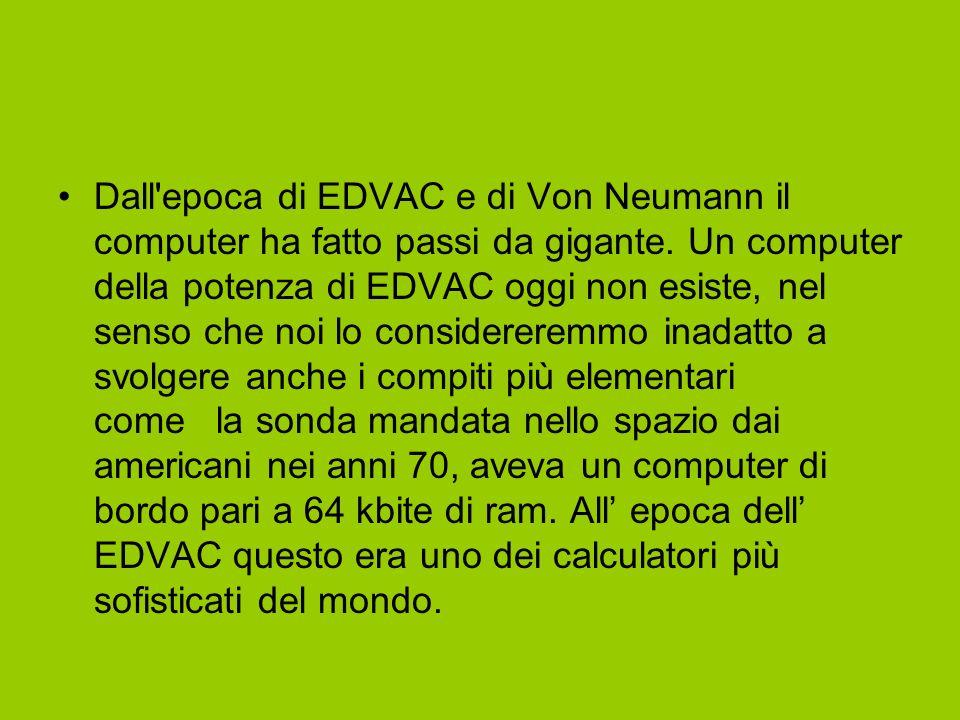 Dall epoca di EDVAC e di Von Neumann il computer ha fatto passi da gigante.