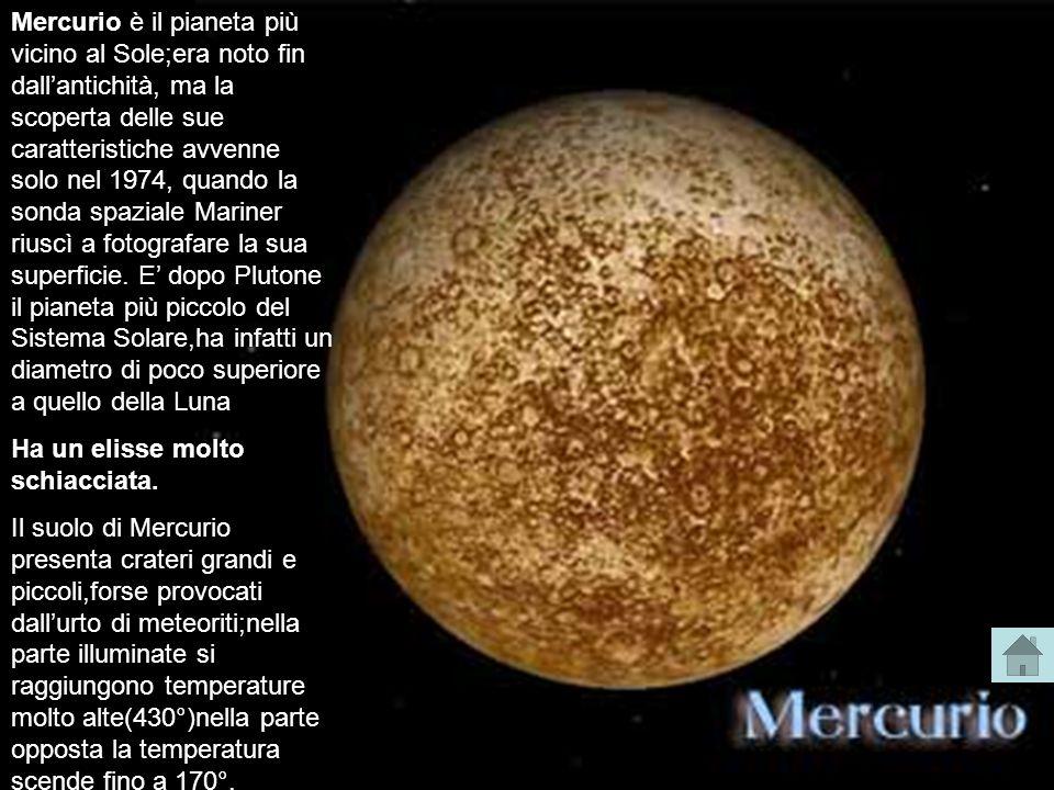 Mercurio è il pianeta più vicino al Sole;era noto fin dall'antichità, ma la scoperta delle sue caratteristiche avvenne solo nel 1974, quando la sonda spaziale Mariner riuscì a fotografare la sua superficie. E' dopo Plutone il pianeta più piccolo del Sistema Solare,ha infatti un diametro di poco superiore a quello della Luna.