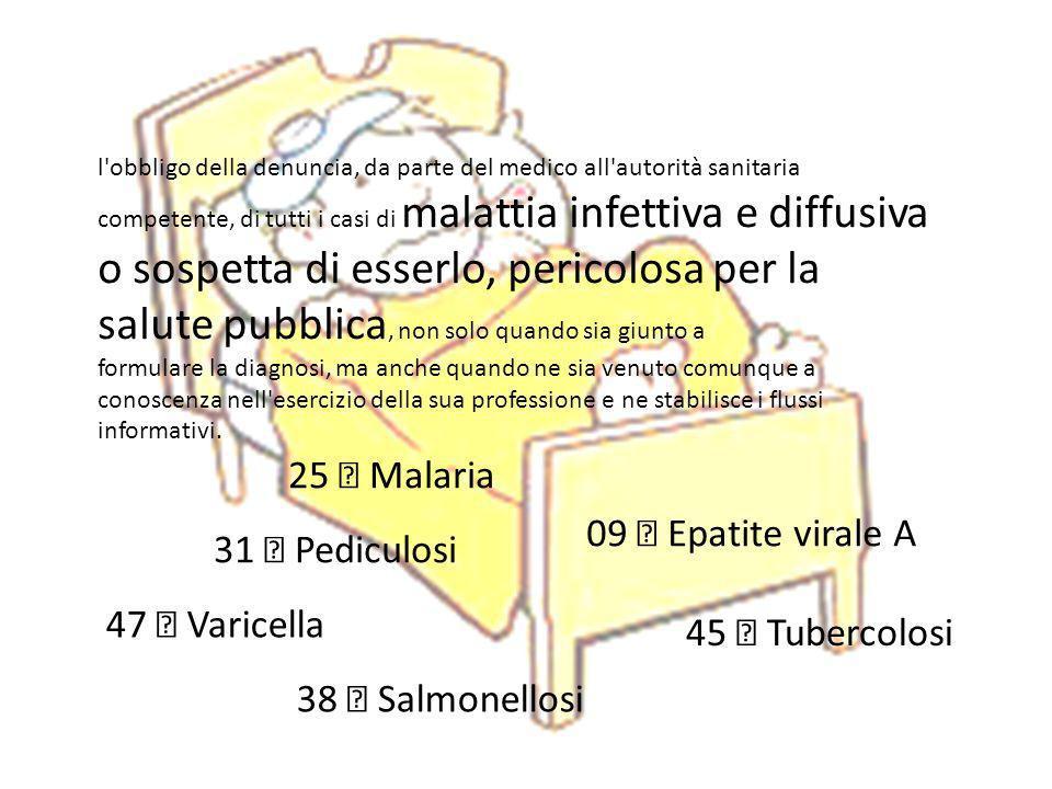25  Malaria 09  Epatite virale A 31  Pediculosi 47  Varicella