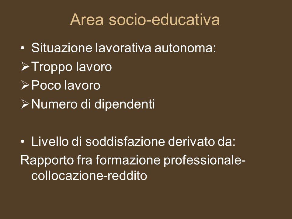 Area socio-educativa Situazione lavorativa autonoma: Troppo lavoro