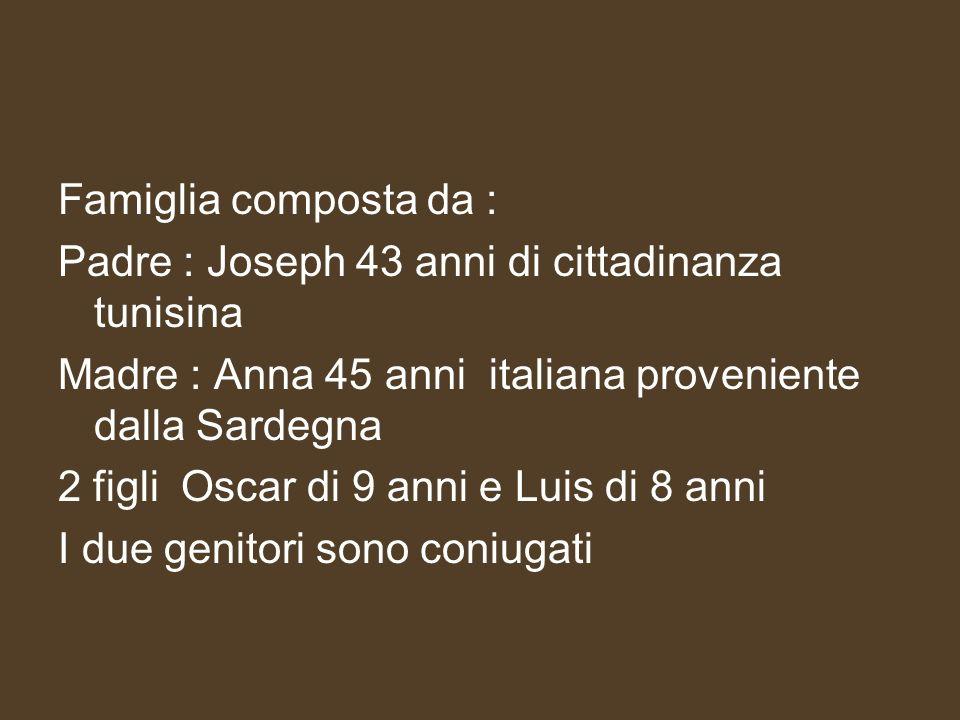 Famiglia composta da :Padre : Joseph 43 anni di cittadinanza tunisina. Madre : Anna 45 anni italiana proveniente dalla Sardegna.