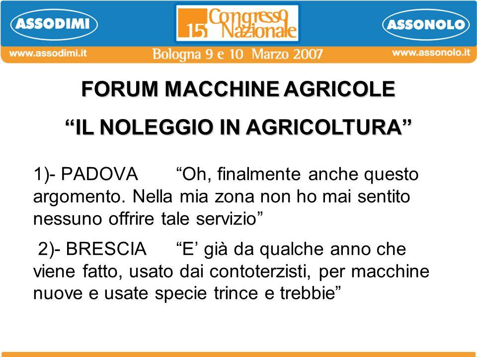 FORUM MACCHINE AGRICOLE IL NOLEGGIO IN AGRICOLTURA