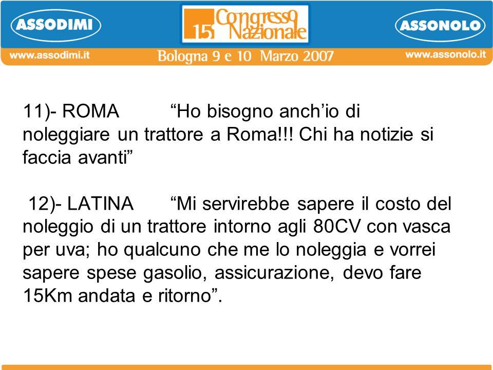 11)- ROMA. Ho bisogno anch'io di noleggiare un trattore a Roma