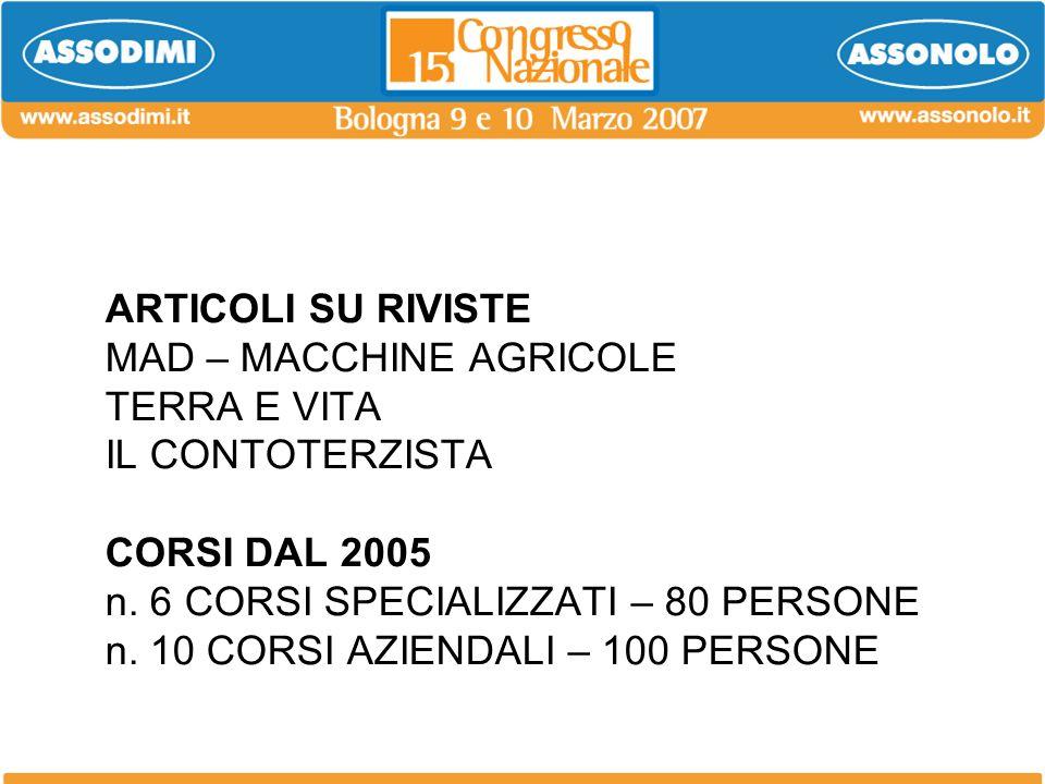 ARTICOLI SU RIVISTE MAD – MACCHINE AGRICOLE TERRA E VITA IL CONTOTERZISTA CORSI DAL 2005 n.
