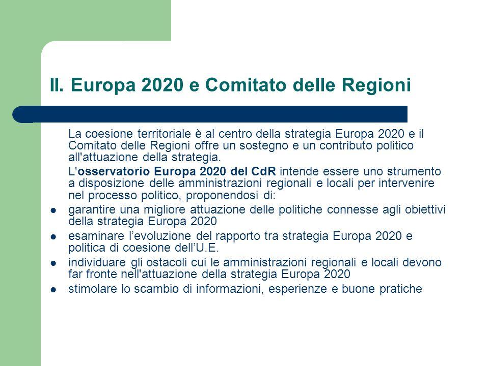 II. Europa 2020 e Comitato delle Regioni