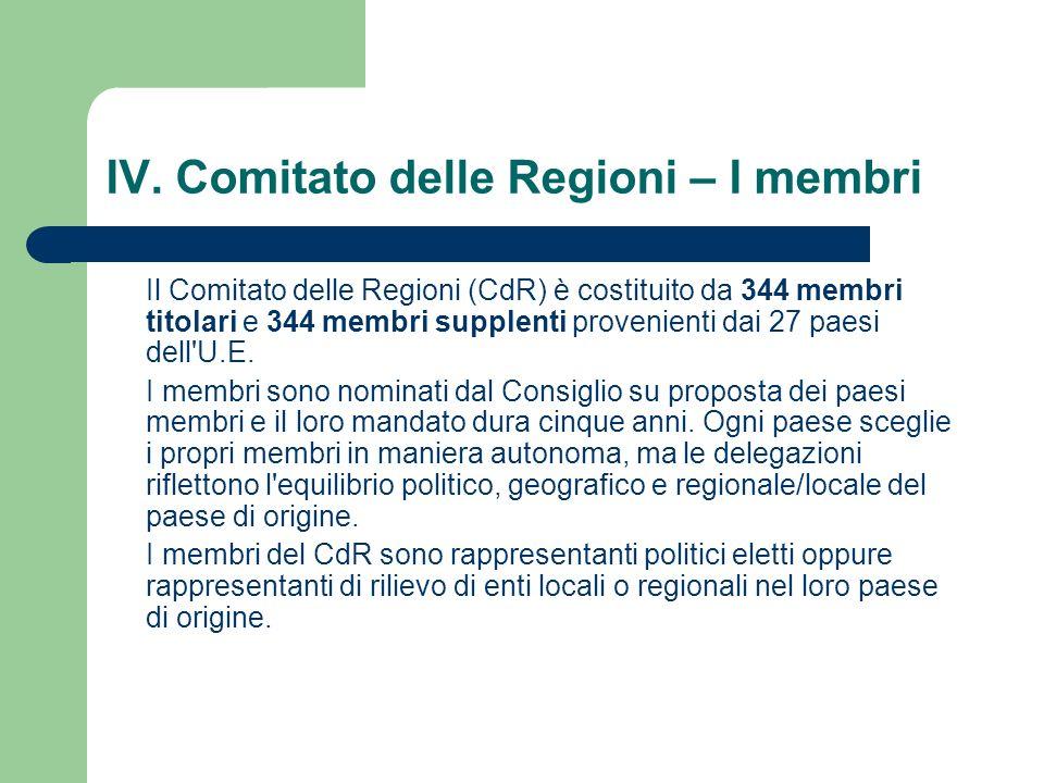 IV. Comitato delle Regioni – I membri
