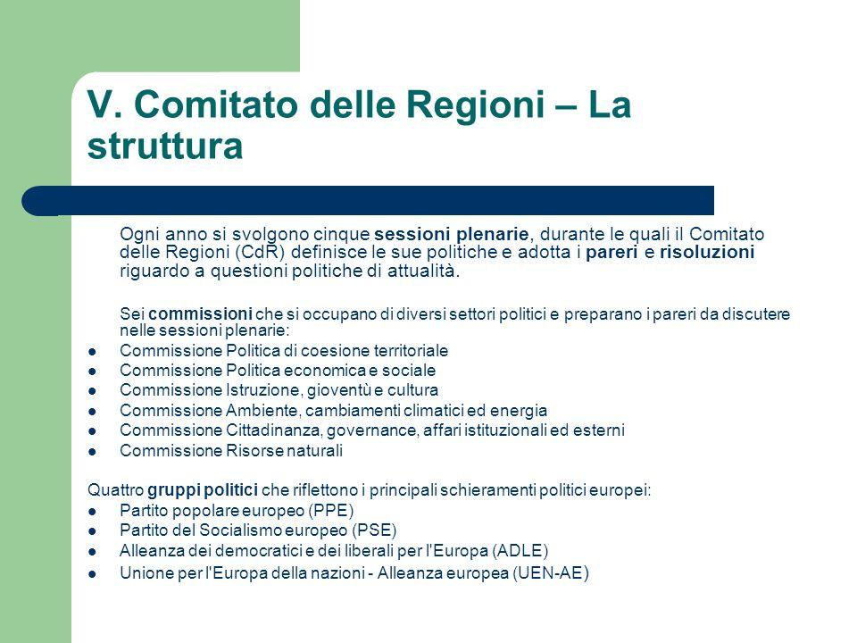 V. Comitato delle Regioni – La struttura