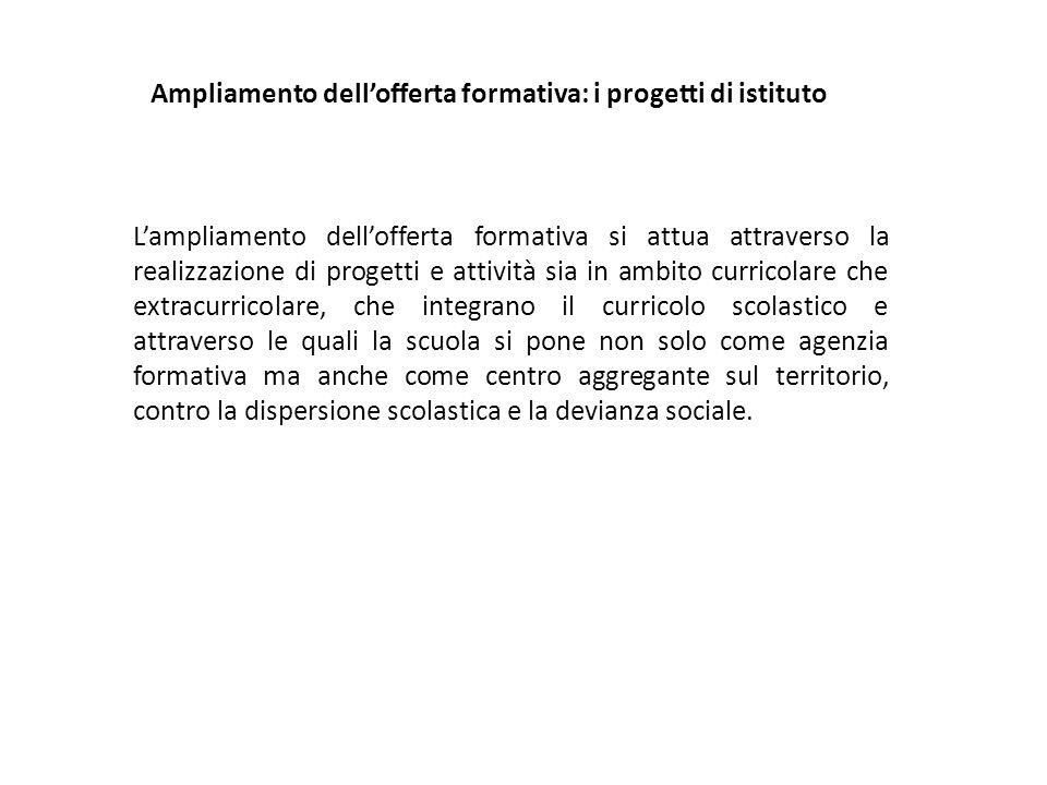 Ampliamento dell'offerta formativa: i progetti di istituto