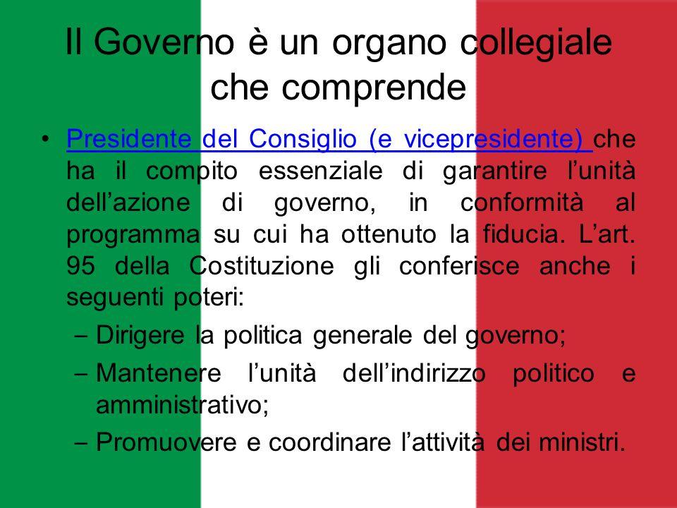 Il Governo è un organo collegiale che comprende