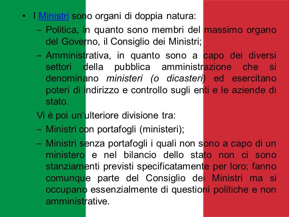 I Ministri sono organi di doppia natura: