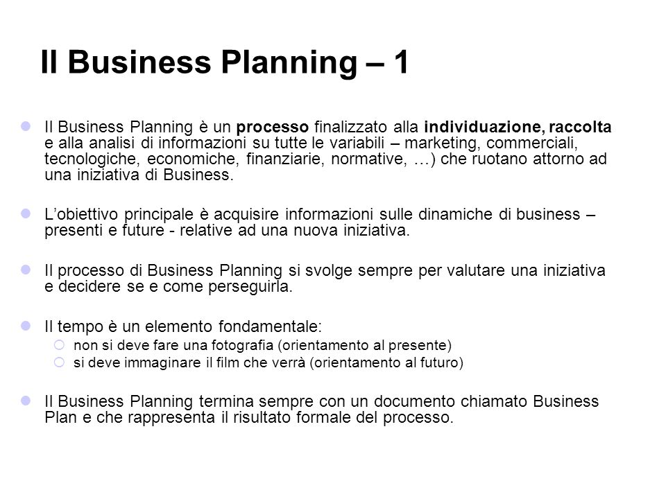 Il Business Planning – 1
