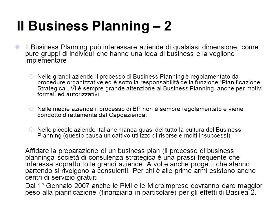 Il Business Planning – 2