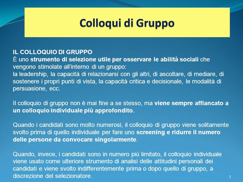 Colloqui di Gruppo IL COLLOQUIO DI GRUPPO