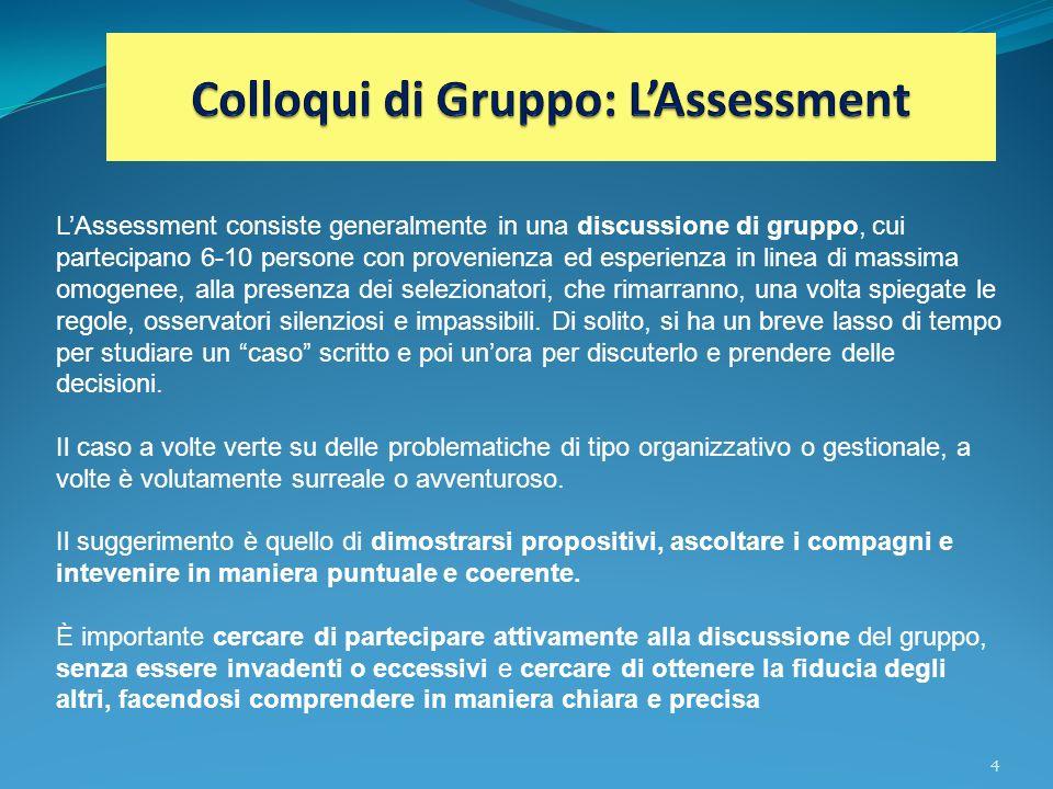 Colloqui di Gruppo: L'Assessment