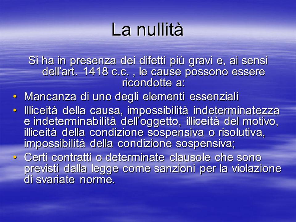 La nullità Si ha in presenza dei difetti più gravi e, ai sensi dell'art. 1418 c.c. , le cause possono essere ricondotte a: