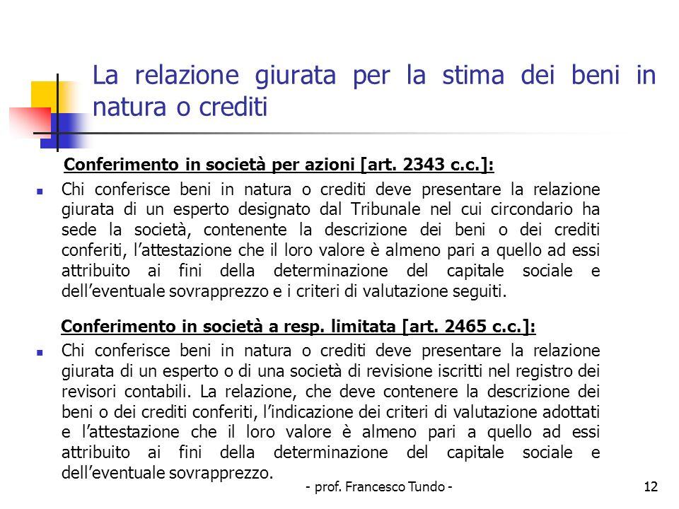 La relazione giurata per la stima dei beni in natura o crediti