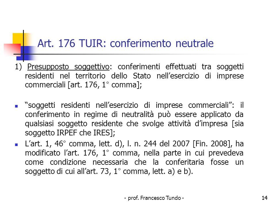 Art. 176 TUIR: conferimento neutrale