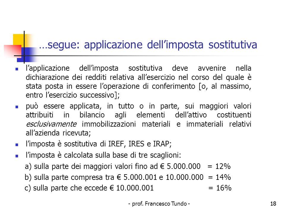 …segue: applicazione dell'imposta sostitutiva