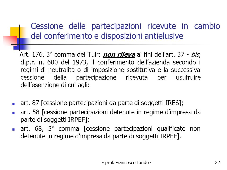 - prof. Francesco Tundo -