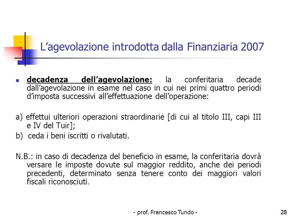 L'agevolazione introdotta dalla Finanziaria 2007