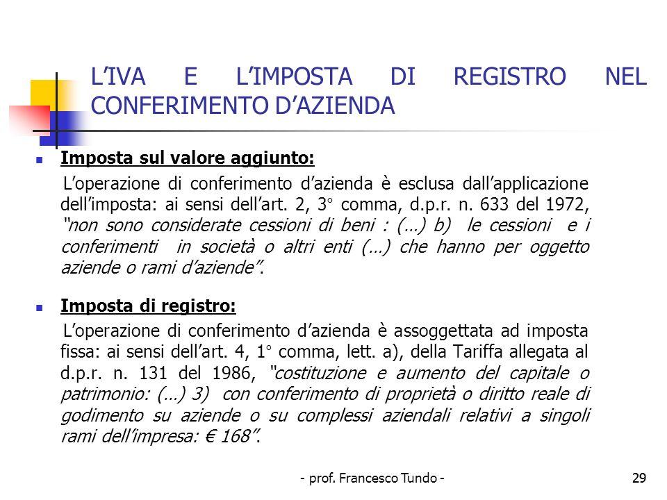 L'IVA E L'IMPOSTA DI REGISTRO NEL CONFERIMENTO D'AZIENDA