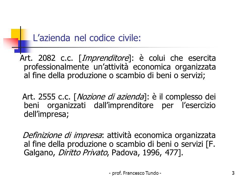 L'azienda nel codice civile: