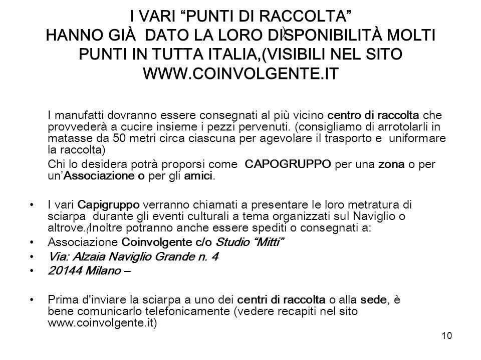 I VARI PUNTI DI RACCOLTA HANNO GIÀ DATO LA LORO DISPONIBILITÀ MOLTI PUNTI IN TUTTA ITALIA,(VISIBILI NEL SITO WWW.COINVOLGENTE.IT