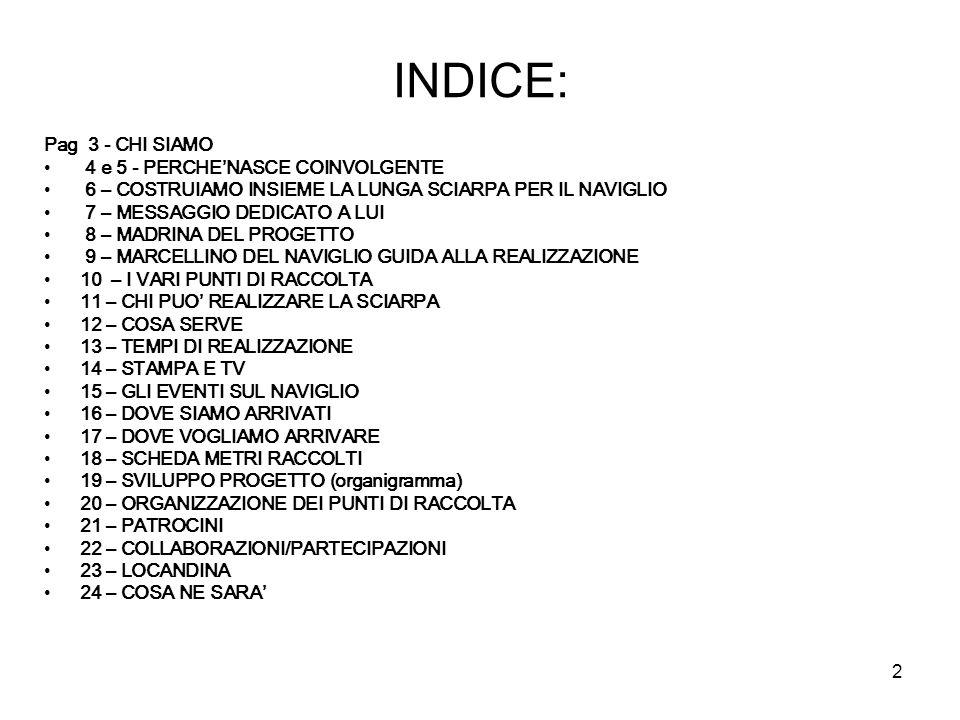 INDICE: Pag 3 - CHI SIAMO 4 e 5 - PERCHE'NASCE COINVOLGENTE