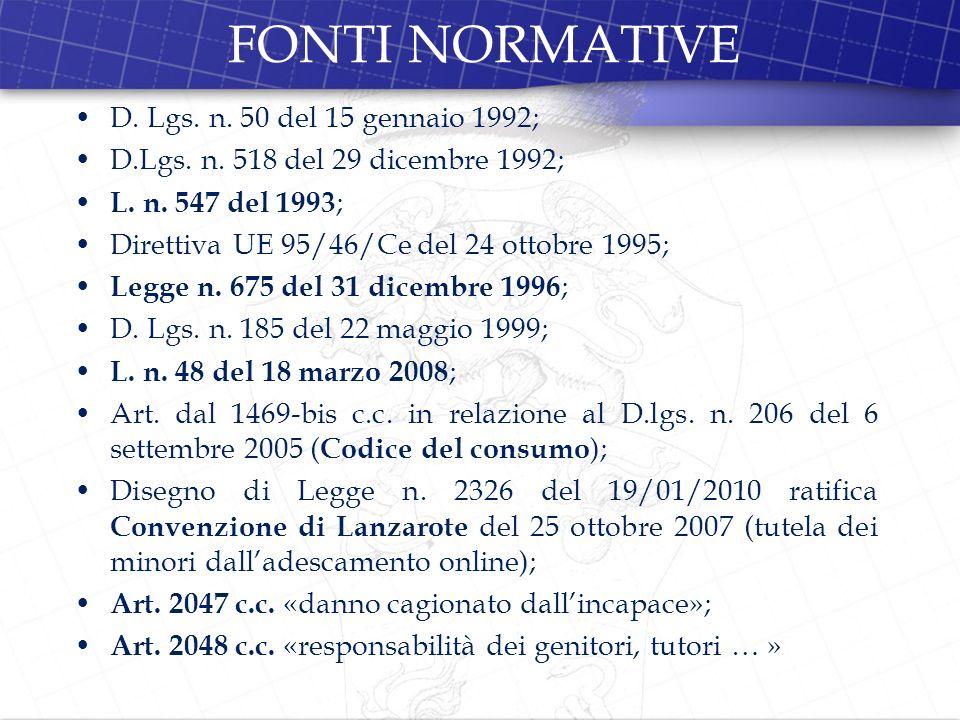 FONTI NORMATIVE D. Lgs. n. 50 del 15 gennaio 1992;