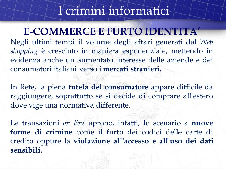 E-COMMERCE E FURTO IDENTITA'