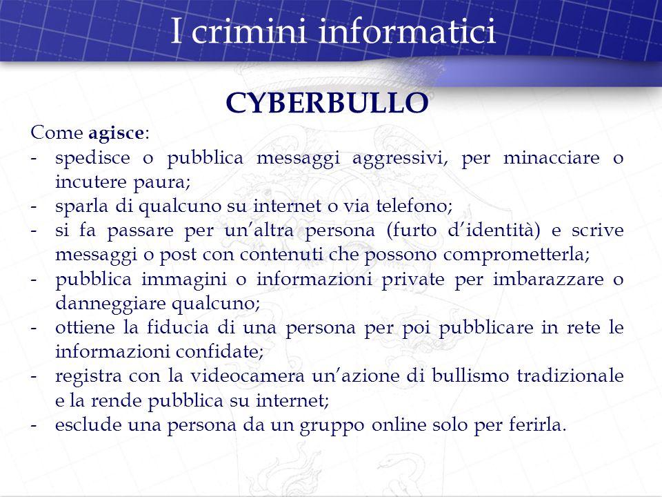 I crimini informatici CYBERBULLO Come agisce: