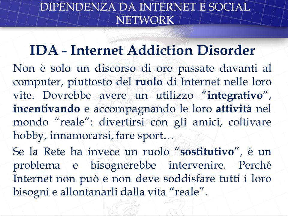 DIPENDENZA DA INTERNET E SOCIAL NETWORK
