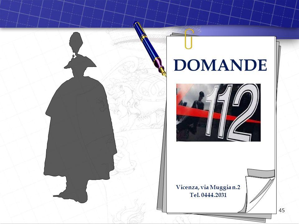 DOMANDE Vicenza, via Muggia n.2 Tel. 0444.2031 45