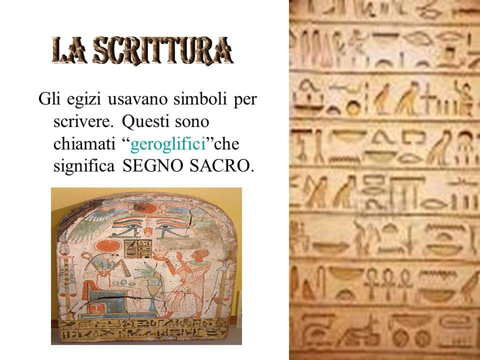 la scrittura Gli egizi usavano simboli per scrivere.
