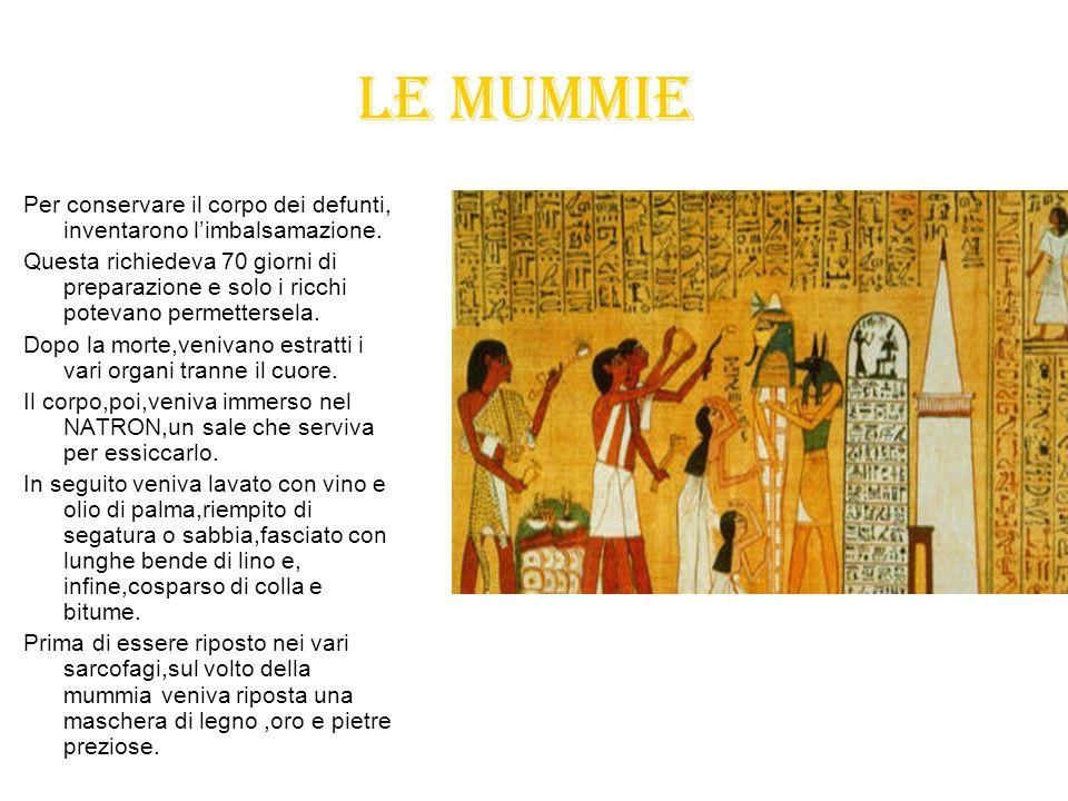 Le mummiePer conservare il corpo dei defunti, inventarono l'imbalsamazione.