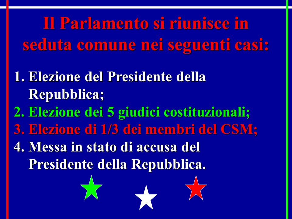 Il parlamento italiano ppt video online scaricare for Parlamento in seduta comune