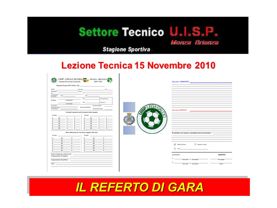 Lezione Tecnica 15 Novembre 2010