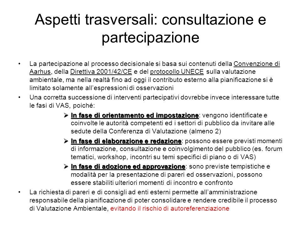 Aspetti trasversali: consultazione e partecipazione