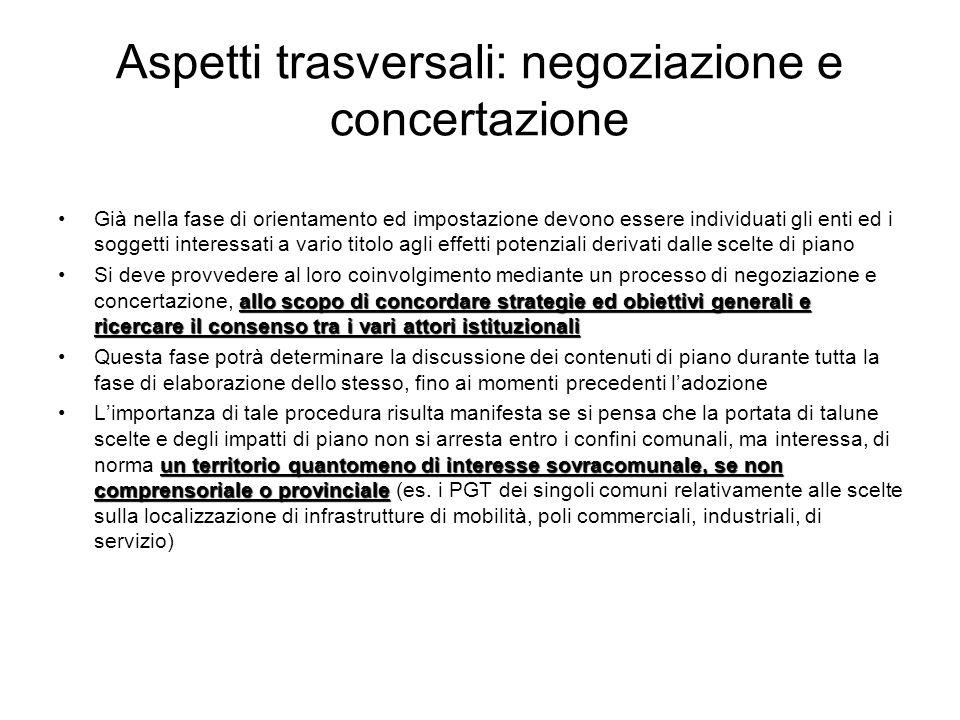 Aspetti trasversali: negoziazione e concertazione
