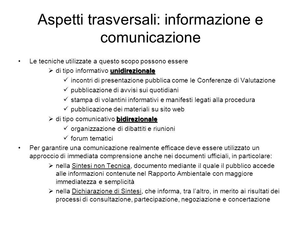 Aspetti trasversali: informazione e comunicazione