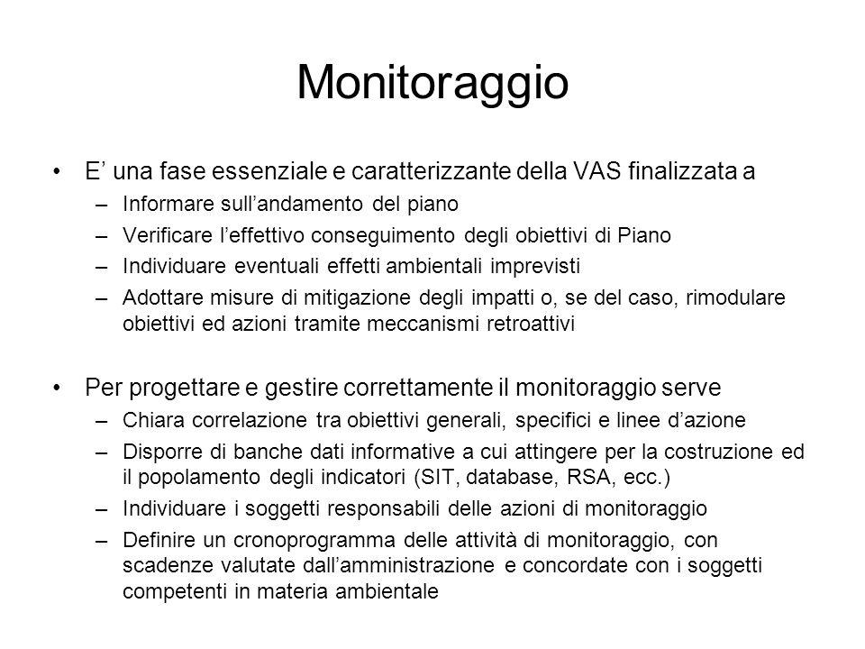 Monitoraggio E' una fase essenziale e caratterizzante della VAS finalizzata a. Informare sull'andamento del piano.