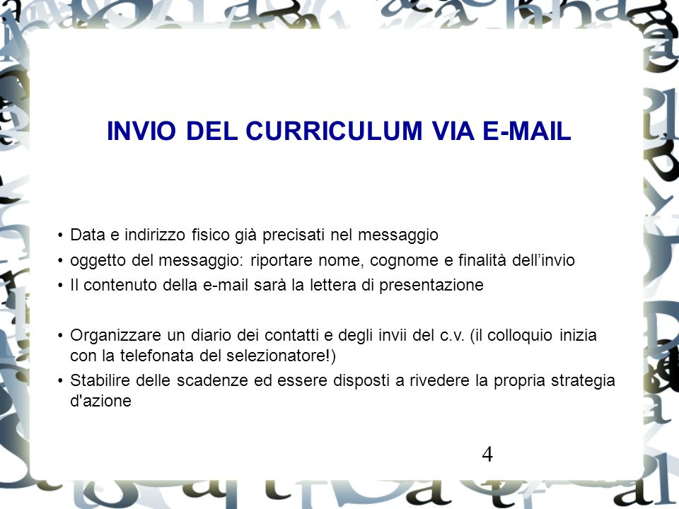 INVIO DEL CURRICULUM VIA E-MAIL