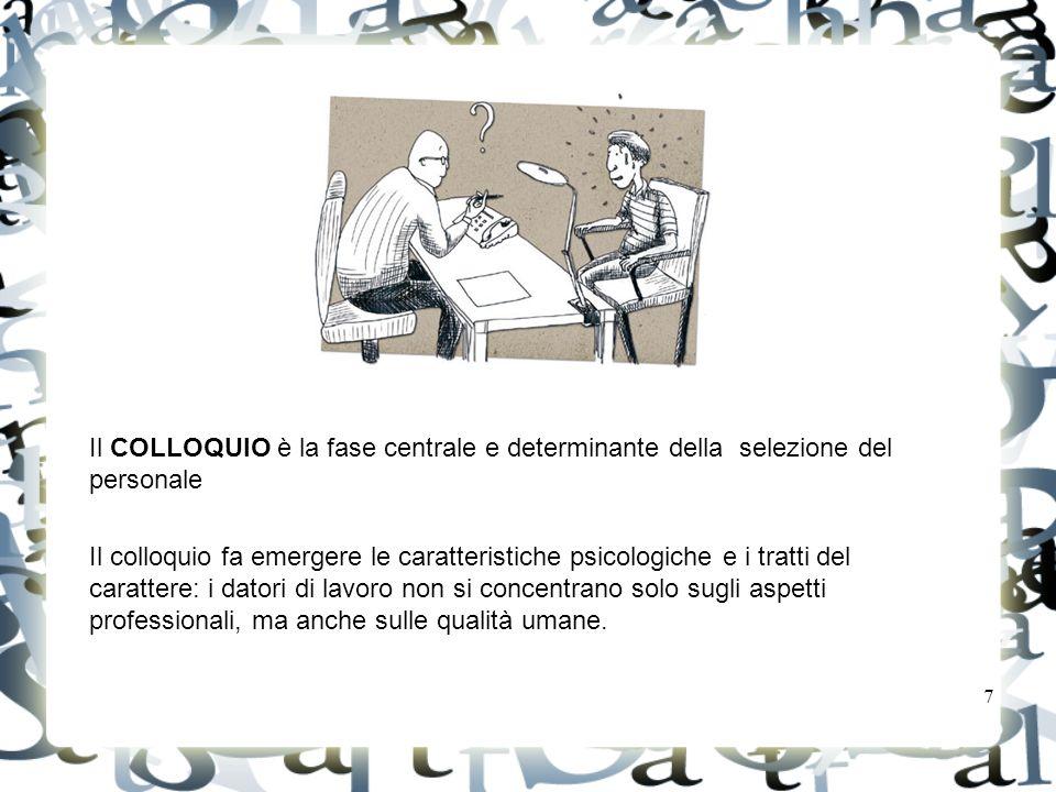 Il COLLOQUIO è la fase centrale e determinante della selezione del personale