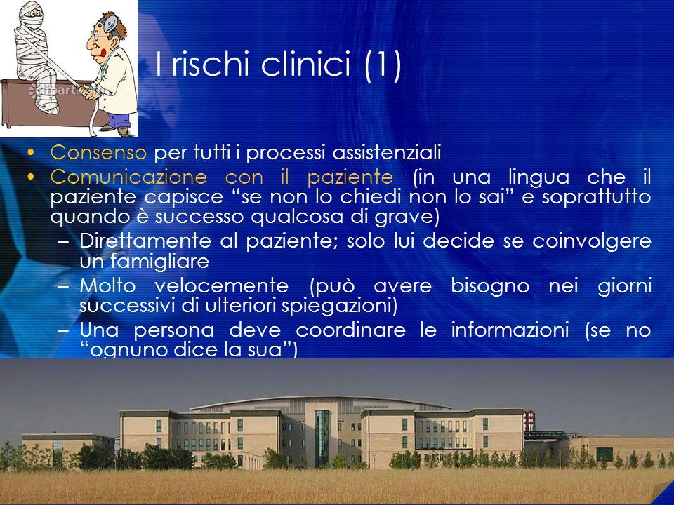 I rischi clinici (1) Consenso per tutti i processi assistenziali