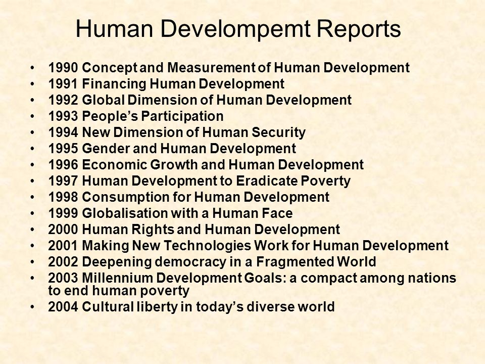 Human Develompemt Reports