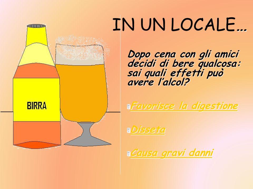 IN UN LOCALE… Dopo cena con gli amici decidi di bere qualcosa: sai quali effetti può avere l'alcol