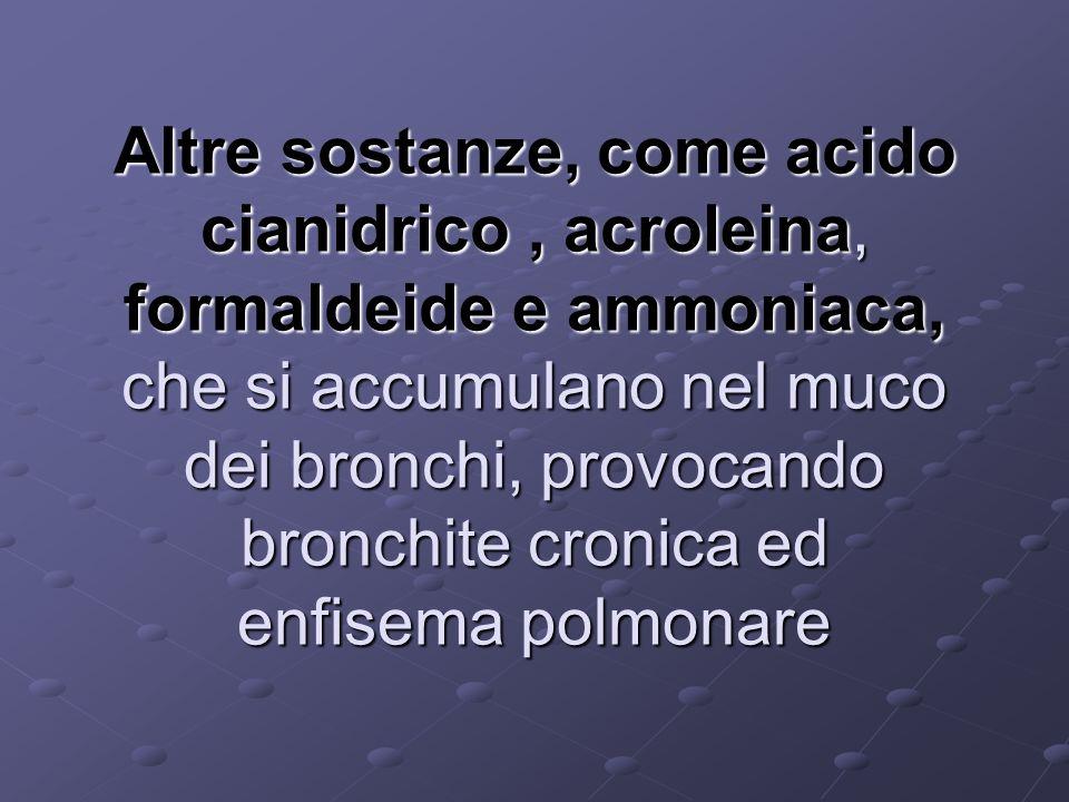 Altre sostanze, come acido cianidrico , acroleina, formaldeide e ammoniaca, che si accumulano nel muco dei bronchi, provocando bronchite cronica ed enfisema polmonare